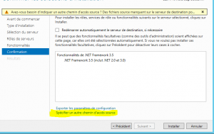 Ajout de .NET Framework 3.5 sur windows 2012 r2